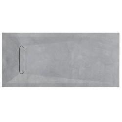 Piatto doccia Vesuvius SIDEWALK in pietra sintetica finitura cemento altezza 3 cm con piletta materica in tinta inclusa