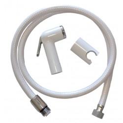 Doccia bianca shut-off con flessibile in pvc da 120 cm e supporto per rubinetteria bagno