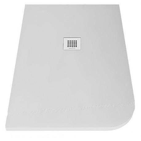 Piatto doccia Asimmetrico Stondato 70x90 cm in luxolid altezza 3 cm con piletta serigrafata in acciaio inox inclusa