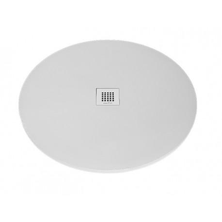 Piatto doccia Circolare Diametro 80 cm in luxolid altezza 3 cm con piletta serigrafata in acciaio inox inclusa