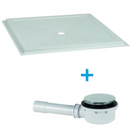 Piatto doccia filopavimento 80x80 in vetro resina con piletta ideale per disabili altezza 3,6 cm