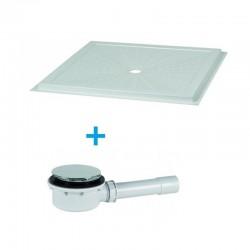 Piatto doccia filopavimento 90x90 in vetro resina con piletta ideale per disabili altezza 3,6 cm