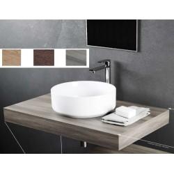 Top Bagno Larghezza 80 x Profondità 46 cm in melaminico finitura legno per lavabi d'appoggio
