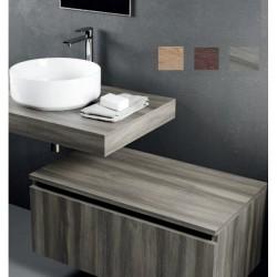 Mensolone + Cassettone Largh. 80 x Profo. 46 cm in melaminico finitura legno per lavabi d'appoggio