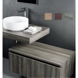 Mensolone + Cassettone Largh. 100 x Profo. 46 cm in melaminico finitura legno per lavabi d'appoggio