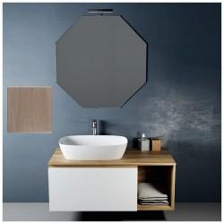 Composizione da bagno completa ROVERE TRANCIATO/BIANCO opaco con specchiera e applique a led larghezza 105 cm