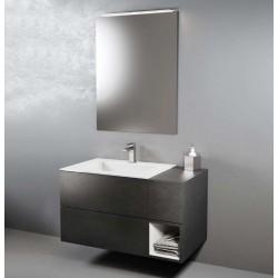 Composizione da bagno completa STONE GREY/BIANCO OPACO con specchiera e applique a led larghezza 95 cm