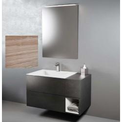 Composizione da bagno completa SANREMO/BIANCO OPACO con specchiera e applique a led larghezza 95 cm