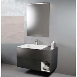 Composizione da bagno completa STONE WHITE / STONE GREY con specchiera e applique a led larghezza 95 cm
