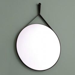 Unica Misura Specchio tondo Ø60 cm cornice in ecopelle colore nero
