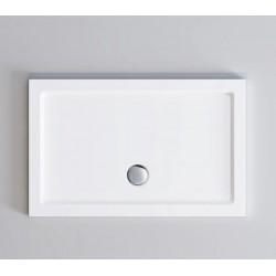 Piatto doccia Incanto in pietra artificiale extra rinforzato finitura bianco lucido altezza 4 cm con bordo perimetrale