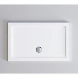 Piatto doccia Incanto 80 x 100 cm in pietra artificiale extra rinforzato finitura bianco lucido altezza 4 con bordo perimetrale