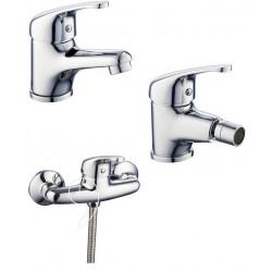 Miscelatori lavabo + bidet + doccia esterno in ottone cromato modello Roma