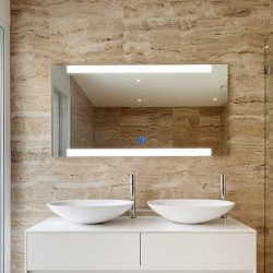 Su Misura Specchio da Bagno Filo Lucido Retroilluminate led 20W art.Madrid con pulsante touch integrato