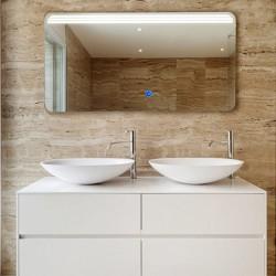 Su Misura Specchio da Bagno Filo Lucido Retroilluminate led 20W art.Lux con pulsante touch integrato