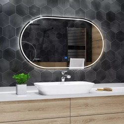 Su Misura Specchio da Bagno Filo Lucido Retroilluminate led 20W art.5131 con pulsante touch integrato