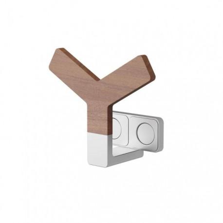 Gancio porta teli per bagno linea Way by Lazzarini in legno Teak ed alluminio modello Y Wood 383814