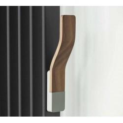 Appendino da termoarredo in legno Teak ed alluminio con fissaggio magnetico