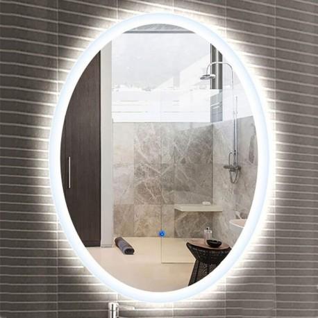 Su Misura Specchio Ovale da Bagno Filo Lucido Retroilluminate led 20W art.Ovo con pulsante touch integrato