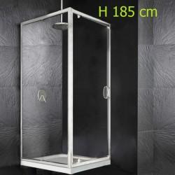 Box Doccia a Porta Battente + Anta Fissa Laterale Cristallo 6 mm Altezza 185 cm art. OM37