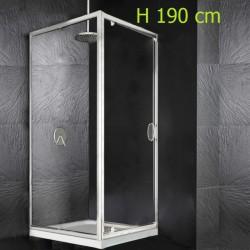 Box Doccia a Porta Battente + Anta Fissa Laterale Cristallo 6 mm Altezza 195 cm art. H12