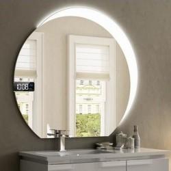 Specchio da Bagno Tondo con Altoparlante Bluetooth + Orologio e Cornice Sabbiata Retroilluminata led 20W art. spe08
