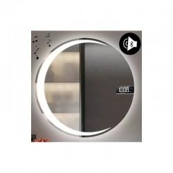 Specchio da Bagno Tondo con Altoparlante Bluetooth + Orologio e Disegno Sabbiato Retroilluminato led 20W art. SPEOV2