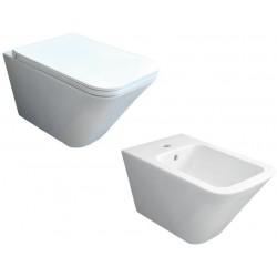 Sanitari Sospesi Vaso senza brida + Bidet Build di Azzurra ceramica bianco lucido
