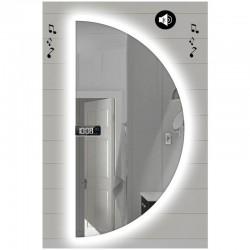 Specchio da Bagno Semicircolare con Altoparlante Bluetooth + Orologio e Disegno Sabbiato Retroilluminato led 20W art. SPEOV4