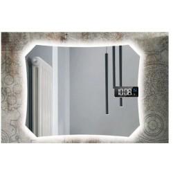 Specchio da Bagno con Angoli Squadrati Altoparlante Bluetooth + Orologio con led 20W Retroilluminante art. spe92