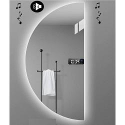 Specchio da Bagno Semicircolare con Altoparlante Bluetooth + Orologio Retroilluminato led 20W art. Dalia5