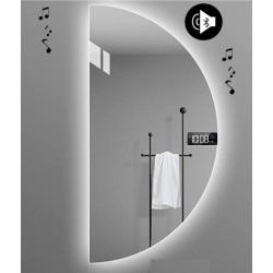 Specchio da Bagno Semicircolare con Altoparlante Bluetooth + Orologio Retroilluminato led 20W art. Dalia6