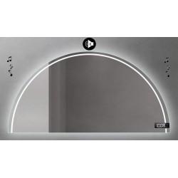 Specchio da Bagno Semicircolare con Altoparlante Bluetooth + Orologio Retroilluminato led 20W art. Dalia7