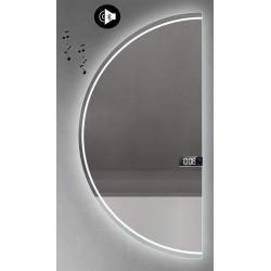 Specchio da Bagno Semicircolare con Altoparlante Bluetooth + Orologio Retroilluminato led 20W art. Dalia8
