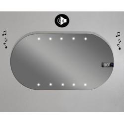 Specchio da Bagno Forma Ovale con disegno sabbiato Retroilluminato led 20W + Altoparlante Bluetooth + Orologio art. spe937