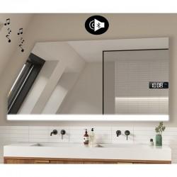 Specchio Filo Lucido per Bagno Mansarda con Altoparlante Bluetooth + Orologio e disegno sabbiato Retroilluminato led 20W art. s4