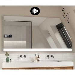 Specchio Filo Lucido per Bagno Mansarda con Altoparlante Bluetooth + Orologio e disegno sabbiato Retroilluminato led 20W art. s5