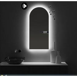 Specchio da Bagno con Angoli Squadrati Altoparlante Bluetooth + Orologio con led 20W Retroilluminante art. spe94