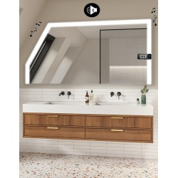Specchio Filo Lucido per Bagno Mansarda con Altoparlante Bluetooth + Orologio e disegno sabbiato Retroilluminato led 20W art. s6