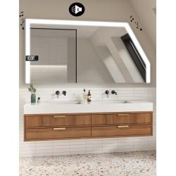 Specchio Filo Lucido per Bagno Mansarda con Altoparlante Bluetooth + Orologio e disegno sabbiato Retroilluminato led 20W art. s7