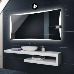 Specchio da Bagno con Angoli Squadrati e Altoparlante Bluetooth + Orologio Retroilluminato led 20W art. spe332