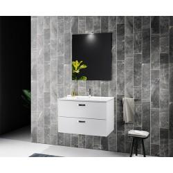 Mobile da bagno Miriam sospeso 80 cm bianco con specchio lampada led