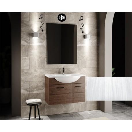 Mobile bagno sospeso Anice da 80 cm bianco frassinato con lavabo + specchio con altoparlante Bluetooth integrato