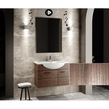 Mobile bagno sospeso Anice da 80 cm con lavabo + specchio con altoparlante Bluetooth integrato Finitura palissandro/larice