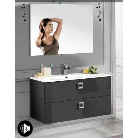 Mobile bagno sospeso Viola Antracite lucido da 100 cm con lavabo + specchio con altoparlante Bluetooth integrato