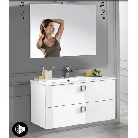 Mobile bagno sospeso Viola Bianco lucido da 100 cm con lavabo + specchio con altoparlante Bluetooth integrato