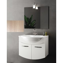 Mobile bagno sospeso Irice da 85 cm con lavabo, specchio e applique integrata in finitura larice/olmo