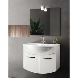 Mobile bagno sospeso Irice da 85 cm con lavabo, specchio e applique integrata in finitura palissandro/larice