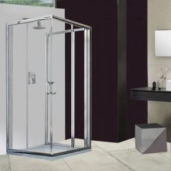 Box Doccia da Centro Stanza ad U Cristallo 6 mm Altezza 195 cm Profilo Cromo art. H10