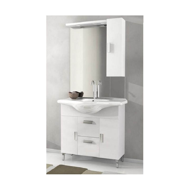 Baden hauso mobile da bagno 85 cm rovereto bianco lucido - Mobile bagno moderno a terra ...